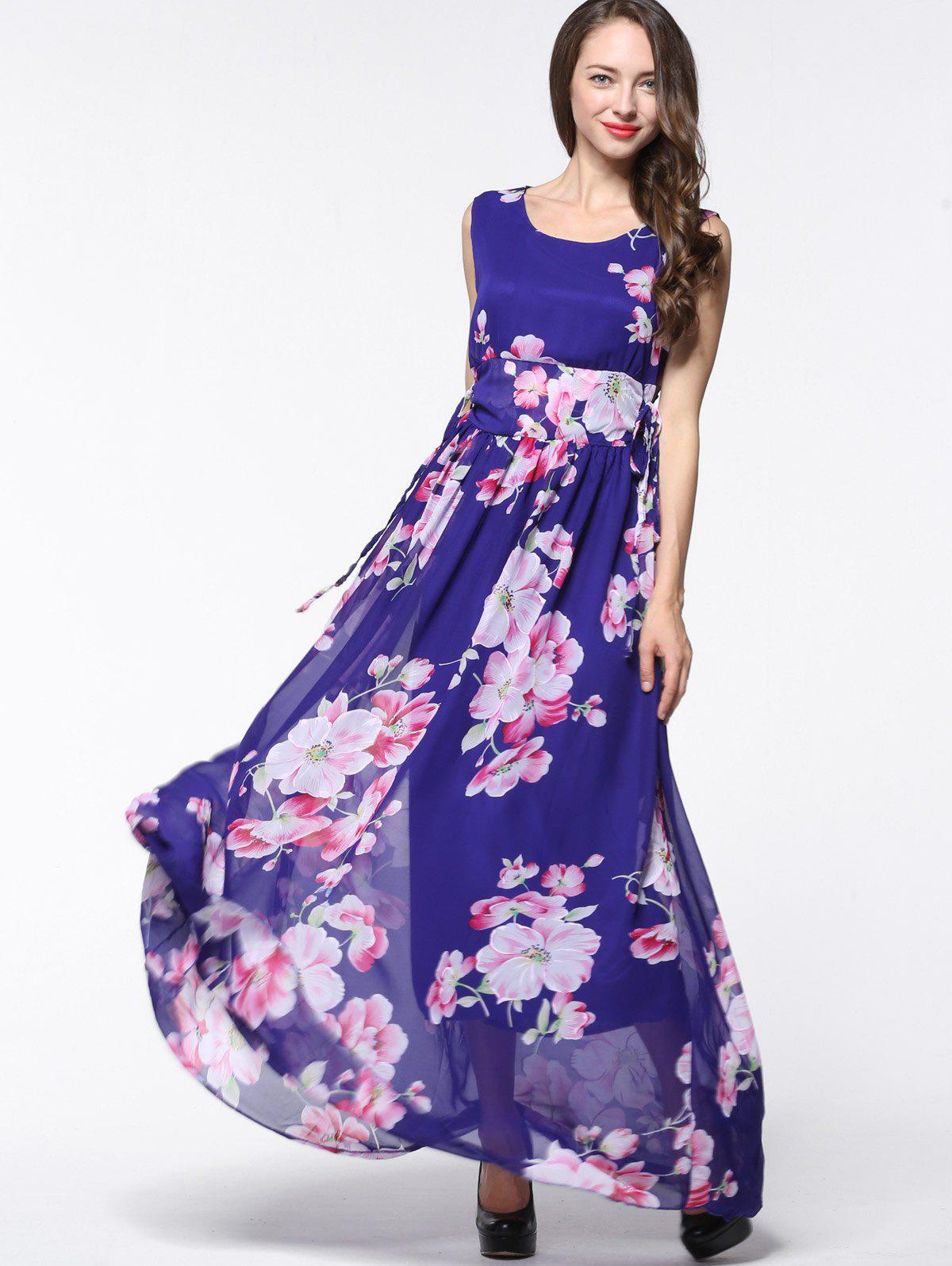e3dc406e8c9 Floral Chiffon Maxi Dress Purple - Gomes Weine AG