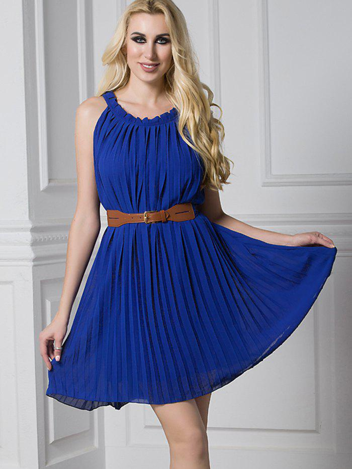 Fancy Ruffled Pleated Belted Mini Dress