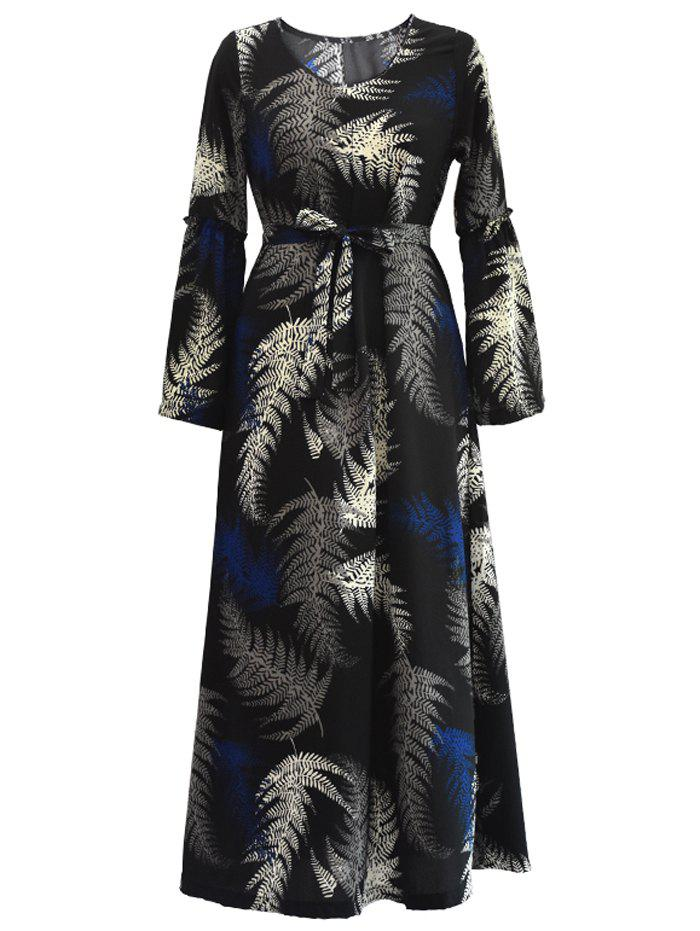 Trendy Tropical Belted Long Sleeve Maxi Dress