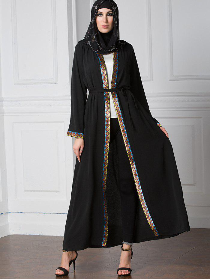 Outfits Geometric Trim Belted Longline Cardigan