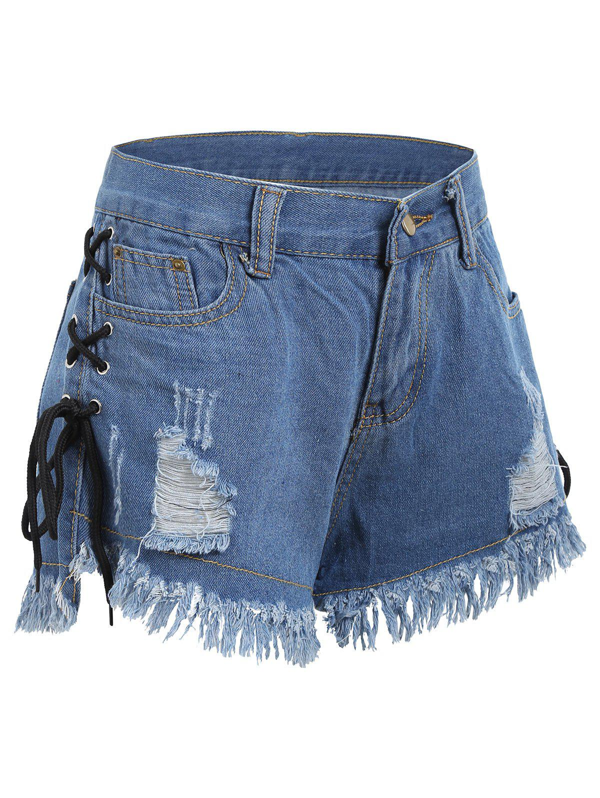 4823554c0c 53% OFF] Lace Up Frayed Hem Ripped Denim Shorts | Rosegal