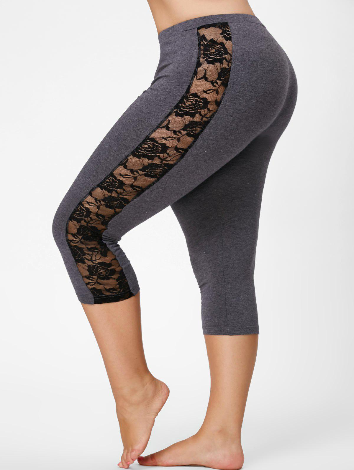 Mesh Panel Lace Plus Size Cropped LeggingsWOMEN<br><br>Size: 2XL; Color: GRAY; Style: Active; Length: Capri; Material: Polyester,Spandex; Fit Type: Skinny; Waist Type: Mid; Closure Type: Elastic Waist; Pattern Type: Solid; Pant Style: Pencil Pants; Weight: 0.2350kg; Package Contents: 1 x Leggings;