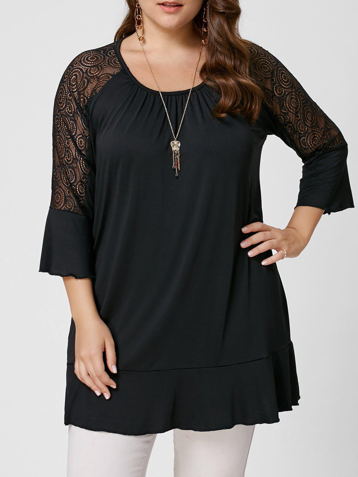 Hot Plus Size Lace Trim Tunic Tee