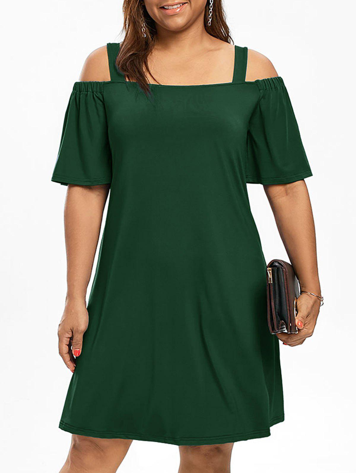 Cold Shoulder Half Sleeve Plus Size DressWOMEN<br><br>Size: XL; Color: BLACKISH GREEN; Style: Brief; Material: Polyester,Spandex; Silhouette: A-Line; Dresses Length: Knee-Length; Neckline: Square Collar; Sleeve Type: Flare Sleeve; Sleeve Length: Half Sleeves; Waist: Natural; Pattern Type: Solid Color; Elasticity: Elastic; With Belt: No; Season: Fall,Spring; Weight: 0.3200kg; Package Contents: 1 x Dress;