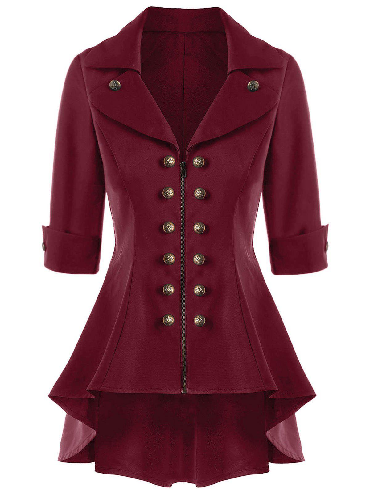 Double Breasted High Low Flare Trench CoatWOMEN<br><br>Size: 2XL; Color: WINE RED; Clothes Type: Trench; Material: Polyester; Type: Skirted; Shirt Length: Regular; Sleeve Length: Three Quarter; Collar: Notched Collar; Pattern Type: Solid; Embellishment: Button; Style: Vintage; Season: Fall,Spring,Summer; Weight: 0.4300kg; Package Contents: 1 x Trench Coat;