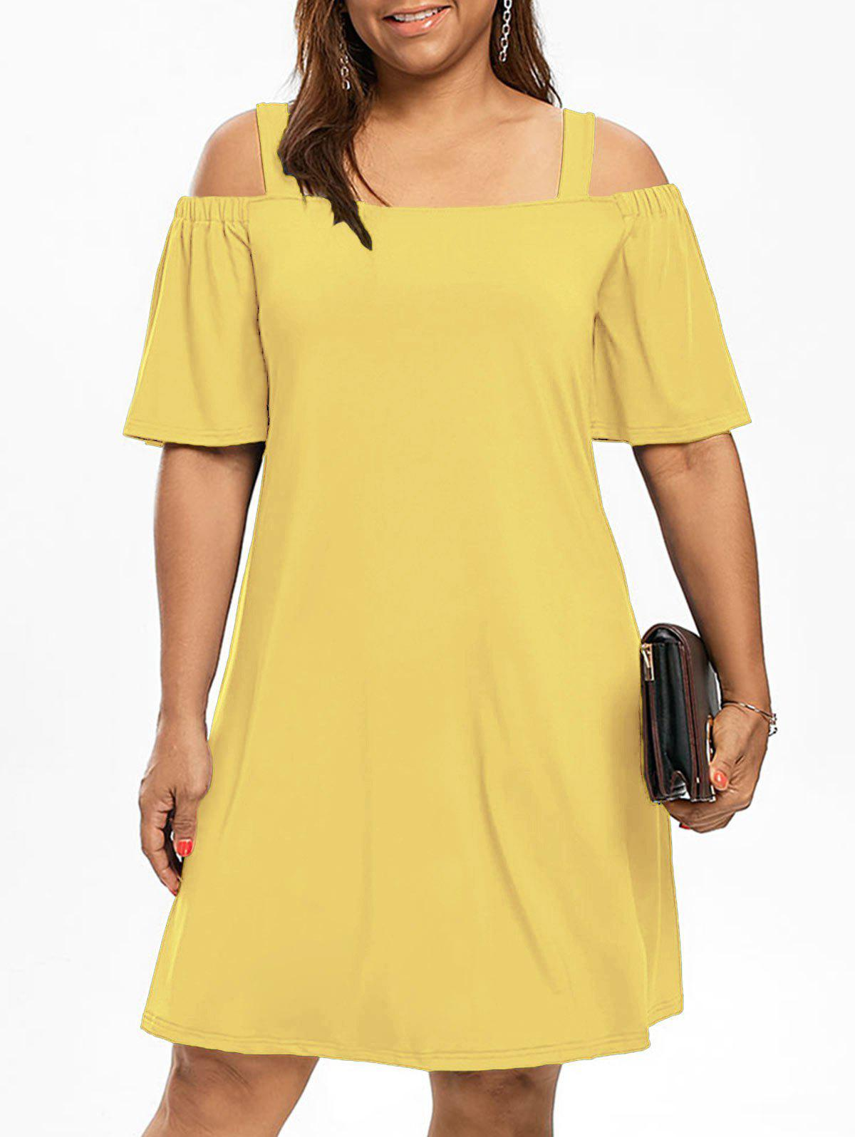 Cold Shoulder Half Sleeve Plus Size DressWOMEN<br><br>Size: 2XL; Color: YELLOW; Style: Brief; Material: Polyester,Spandex; Silhouette: A-Line; Dresses Length: Knee-Length; Neckline: Square Collar; Sleeve Type: Flare Sleeve; Sleeve Length: Half Sleeves; Waist: Natural; Pattern Type: Solid Color; Elasticity: Elastic; With Belt: No; Season: Fall,Spring; Weight: 0.3200kg; Package Contents: 1 x Dress;