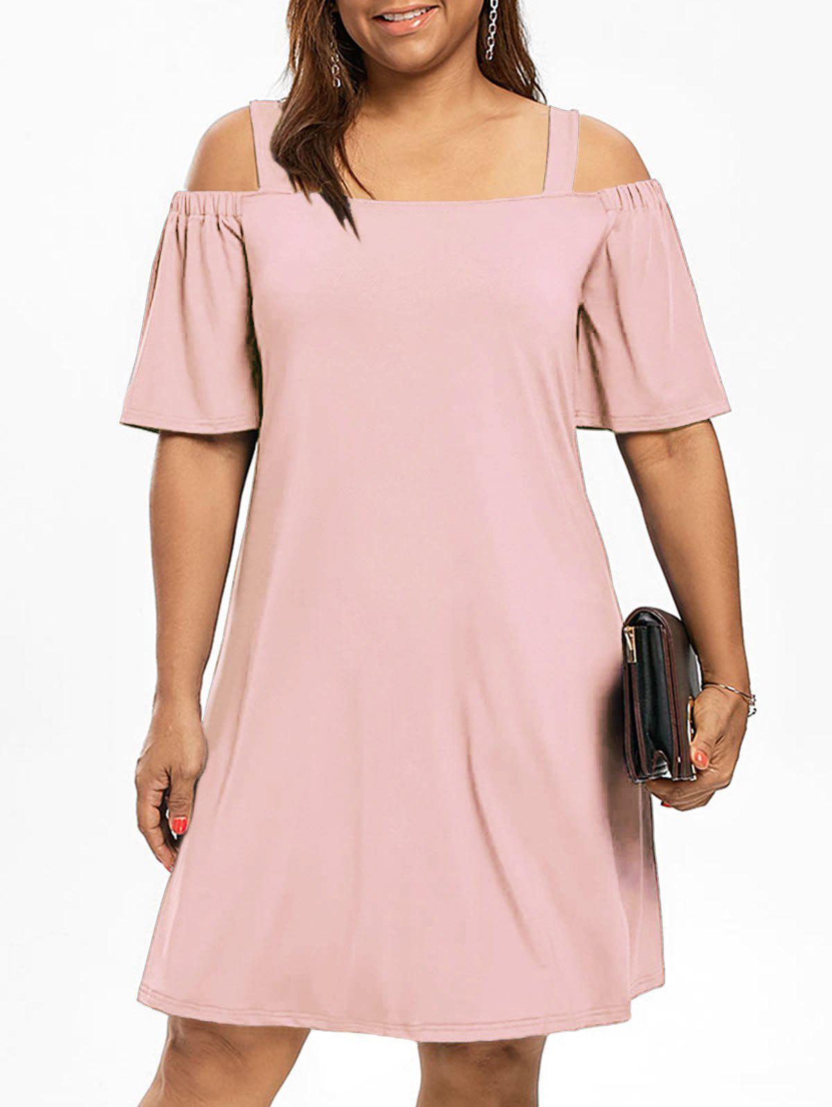 Cold Shoulder Half Sleeve Plus Size DressWOMEN<br><br>Size: 3XL; Color: LIGHT PINK; Style: Brief; Material: Polyester,Spandex; Silhouette: A-Line; Dresses Length: Knee-Length; Neckline: Square Collar; Sleeve Type: Flare Sleeve; Sleeve Length: Half Sleeves; Waist: Natural; Pattern Type: Solid Color; Elasticity: Elastic; With Belt: No; Season: Fall,Spring; Weight: 0.3200kg; Package Contents: 1 x Dress;