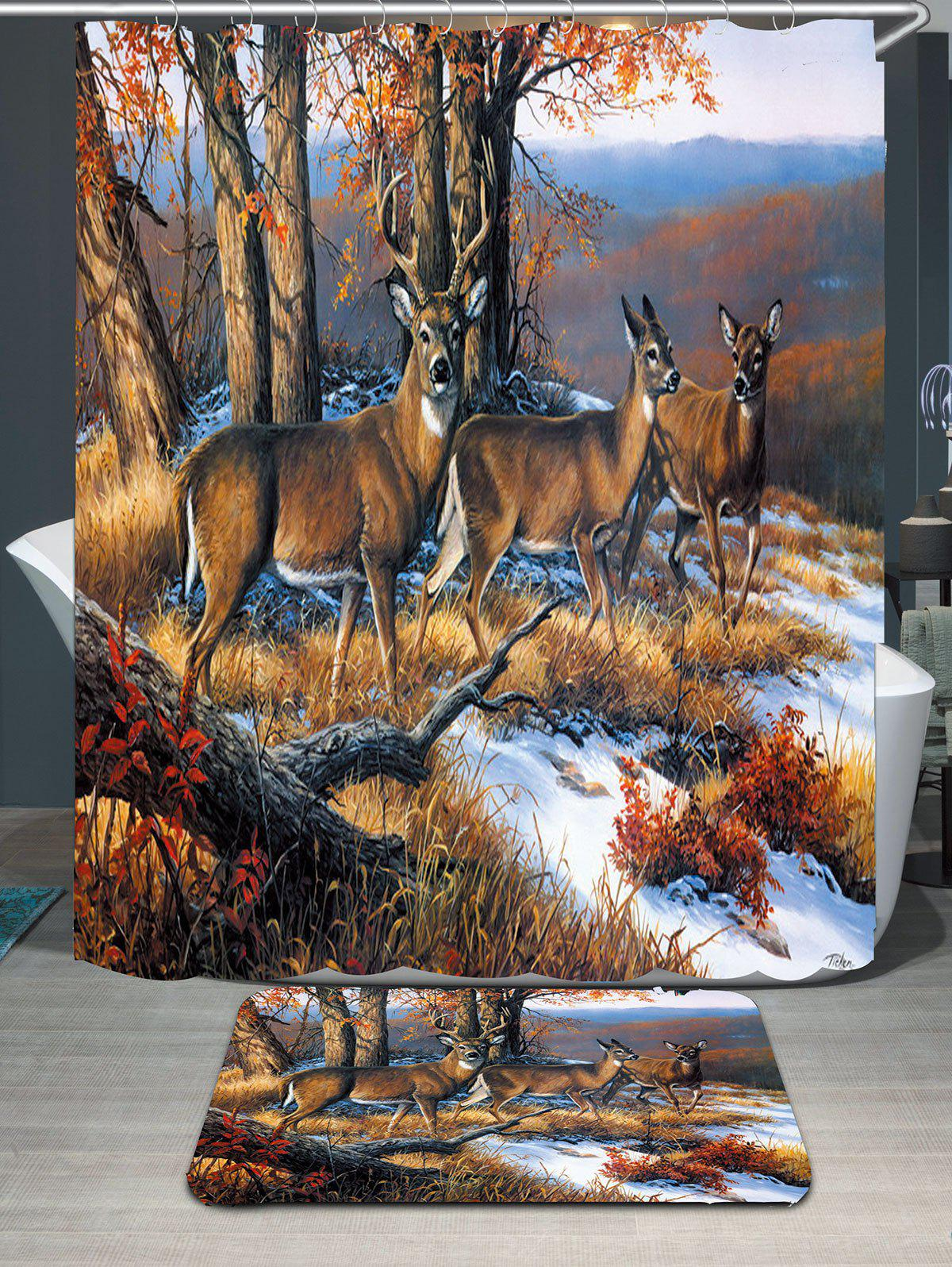 Waterproof Snowfield Deer Printed Shower Curtain and RugHOME<br><br>Size: W59 INCH * L71 INCH; Color: BROWN; Products Type: Shower Curtains; Materials: Polyester; Pattern: Animal; Style: Trendy; Size: Rug Size: W40*L60cm ( W16 inch * L24 inch ); Number of Hook Holes: W59 inch*L71 inch: 10; W71 inch*L71 inch: 12; W79 inch*L71 inch: 12;; Package Contents: 1 x Shower Curtain 1 x Hooks ( Set ) 1 x Rug;