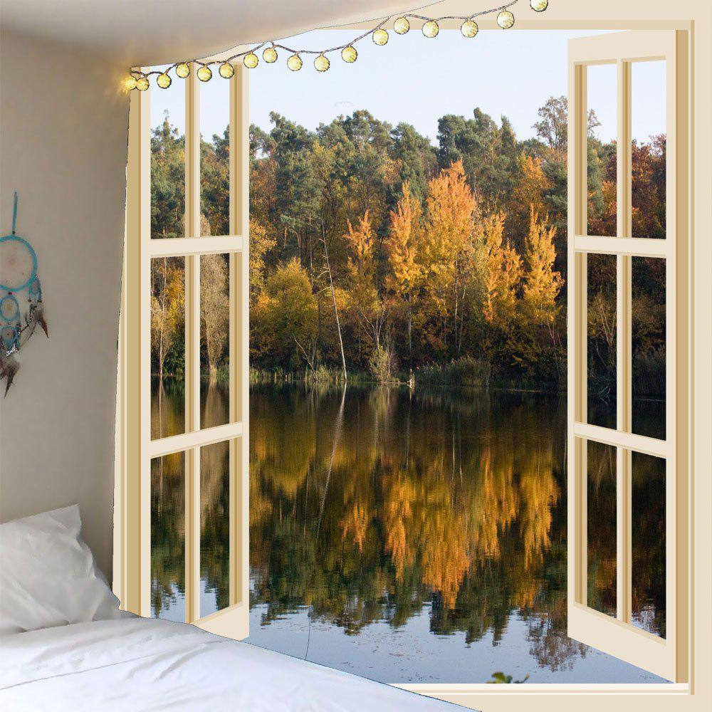 Faux Window Lake Printed Waterproof Wall Hanging TapestryHOME<br><br>Size: W79 INCH * L79 INCH; Color: COLORFUL; Style: Natural; Theme: Landscape; Material: Polyester; Feature: Removable,Washable,Waterproof; Shape/Pattern: Plant,Window; Weight: 0.4200kg; Package Contents: 1 x Tapestry;