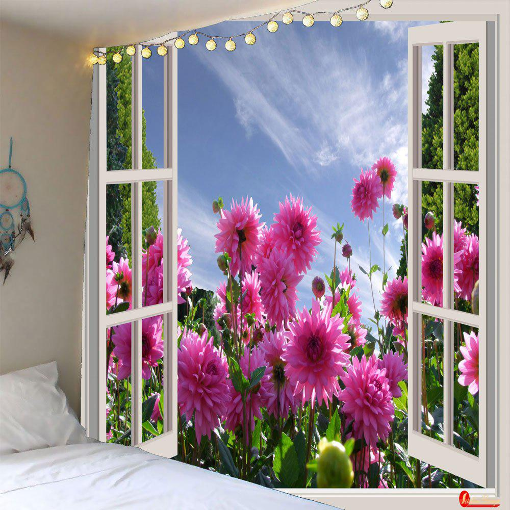 Faux Window Floral Printed Waterproof Wall Hanging TapestryHOME<br><br>Size: W79 INCH * L59 INCH; Color: COLORFUL; Style: Natural; Theme: Plants/Flowers; Material: Polyester; Feature: Removable,Washable,Waterproof; Shape/Pattern: Floral; Weight: 0.3200kg; Package Contents: 1 x Tapestry;