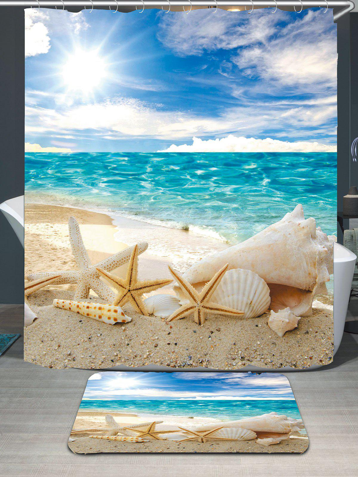 Conch Shells Beach Waterproof Shower Curtain Rug SetHOME<br><br>Size: W71 INCH * L71 INCH; Color: BLUE; Products Type: Shower Curtains; Materials: Coral FLeece,Polyester; Style: Beach Style; Size: 180 x 180 + 40 x 60 (CM); Number of Hook Holes: 12; Package Contents: 1 x Shower Curtain 1 x Rug 1 x Hooks (Set);