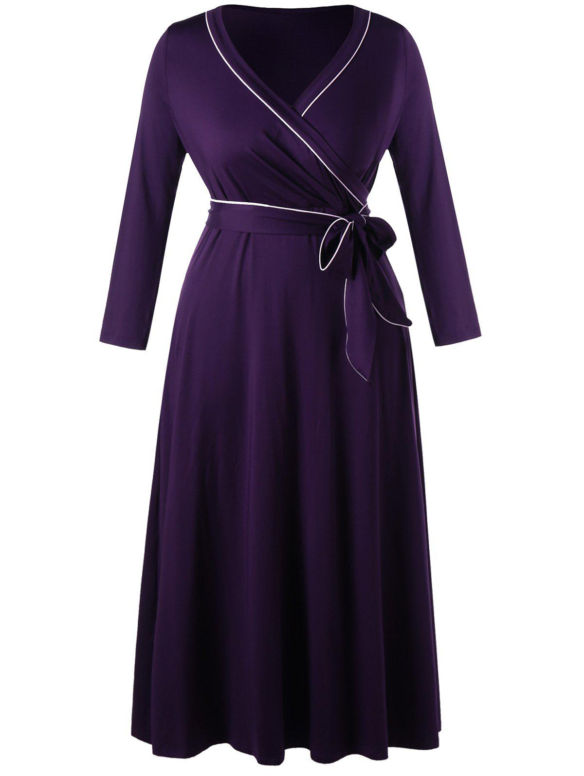 Plus Size Long Sleeve Formal Wrap DressWOMEN<br><br>Size: 5XL; Color: CONCORD; Style: Brief; Material: Polyester,Spandex; Silhouette: Sheath; Dresses Length: Floor-Length; Neckline: V-Neck; Sleeve Length: Long Sleeves; Pattern Type: Others; With Belt: Yes; Season: Fall,Spring; Weight: 0.6490kg; Package Contents: 1 x Dress  1 x Belt;