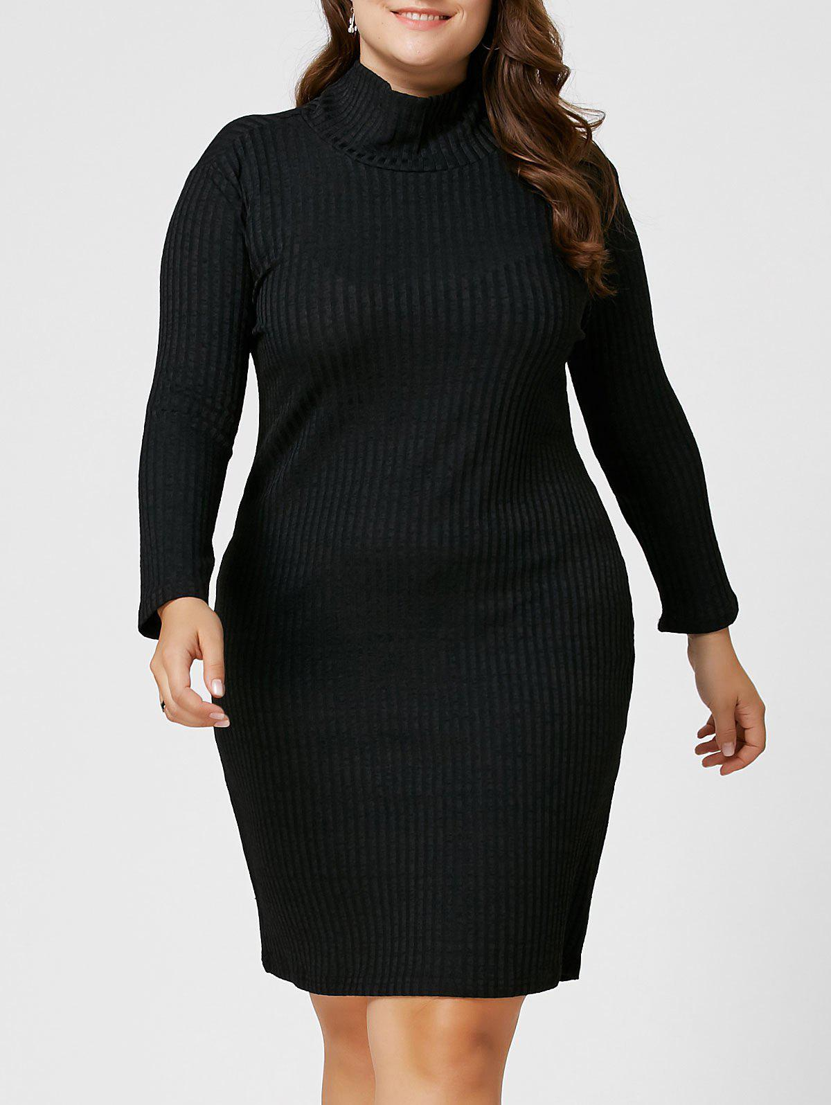 Plus Size Sheath Turtleneck Ribbed Sweater DressWOMEN<br><br>Size: 6XL; Color: BLACK; Style: Club; Material: Cotton Blend,Polyester; Silhouette: Bodycon; Dresses Length: Knee-Length; Neckline: Turtleneck; Sleeve Length: 3/4 Length Sleeves; Pattern Type: Solid Color; Elasticity: Elastic; With Belt: No; Season: Fall,Winter; Weight: 0.3500kg; Package Contents: 1 x Dress;