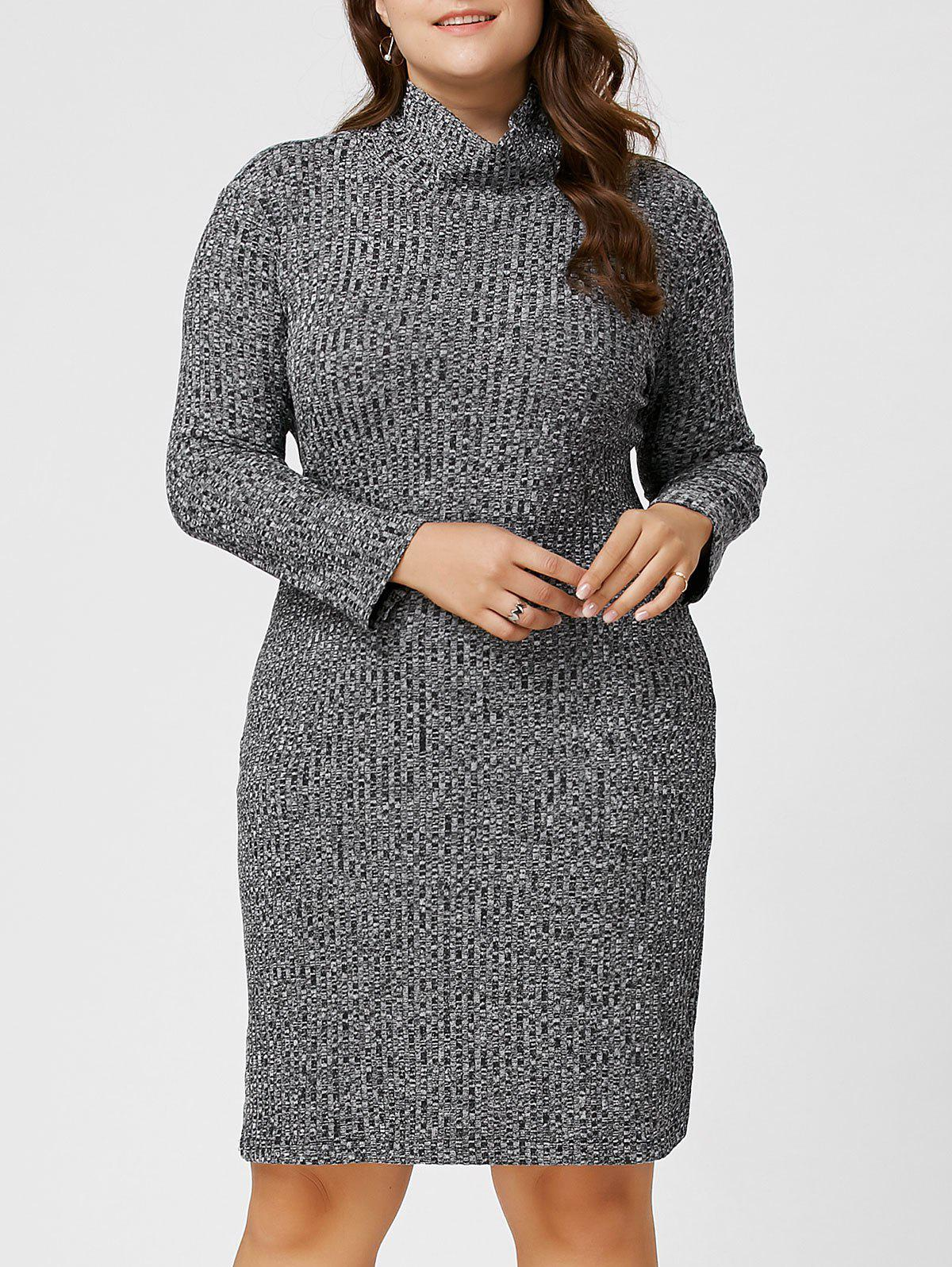 Plus Size Ribbed Sheath Turtleneck Sweater Dress 221902801