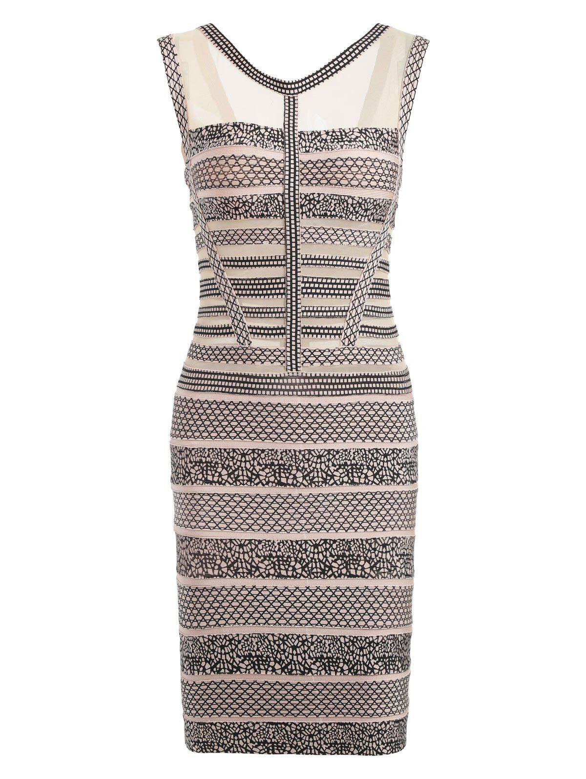 Discount Mesh Panel Sleeveless Print Bandage Dress