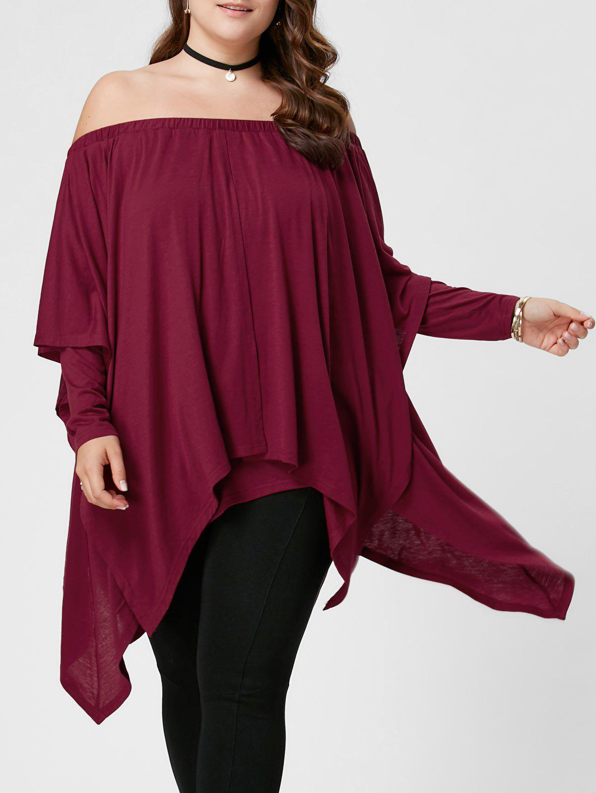 Plus Size Off The Shoulder Handkerchief TopWOMEN<br><br>Size: XL; Color: PEARL AMARANTH; Material: Polyester,Spandex; Shirt Length: Regular; Sleeve Length: Full; Collar: Off The Shoulder; Style: Fashion; Season: Fall,Spring,Summer; Pattern Type: Solid; Weight: 0.5700kg; Package Contents: 1 x Top;