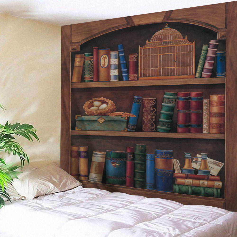 Vintage Wood Bookshelf Wall Hanging TapestryHOME<br><br>Size: W91 INCH * L71 INCH; Color: BROWN; Style: Vintage; Material: Polyester; Feature: Removable,Washable; Shape/Pattern: Print; Weight: 0.3800kg; Package Contents: 1 x Tapestry;