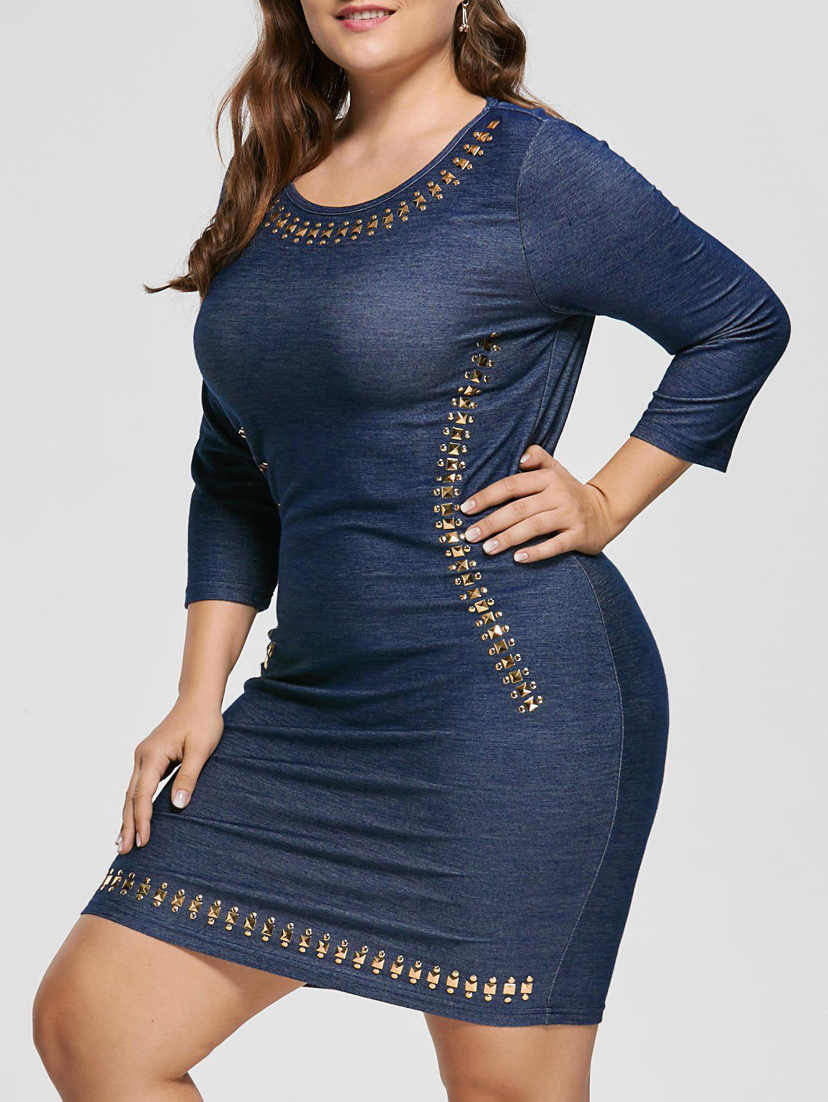 Jean Long Sleeve Plus Size Embellished Sheath Fitted DressWOMEN<br><br>Size: 4XL; Color: DENIM BLUE; Style: Brief; Material: Polyester; Silhouette: Sheath; Dresses Length: Knee-Length; Neckline: Round Collar; Sleeve Length: 3/4 Length Sleeves; Embellishment: Rivet; Pattern Type: Solid; With Belt: No; Season: Fall,Spring; Weight: 0.3000kg; Package Contents: 1 x Dress;
