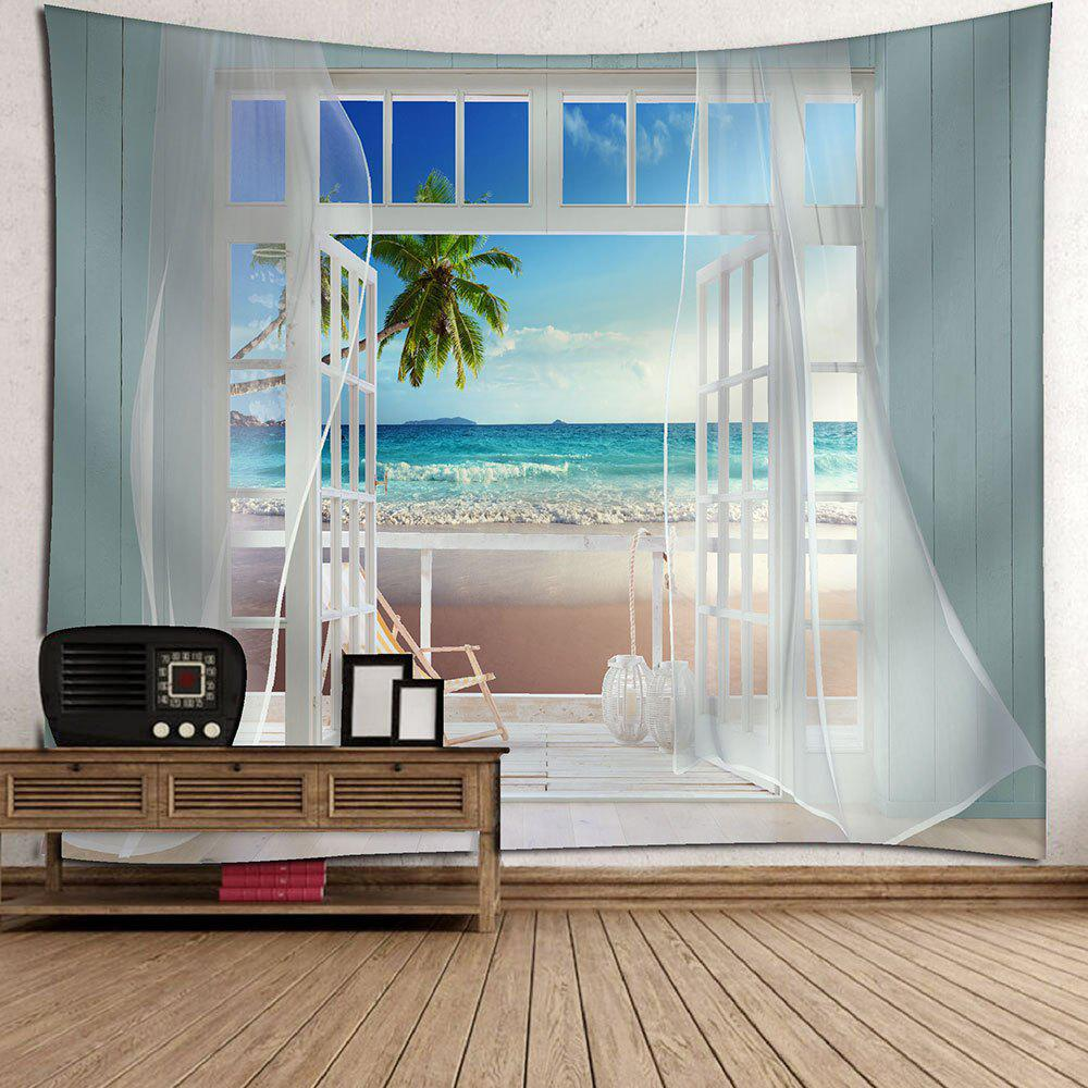 Balcony Beach Seascape Waterproof Hanging Wall TapestryHOME<br><br>Size: W79 INCH * L71 INCH; Color: BLUE; Style: Natural; Theme: Landscape; Material: Velvet; Feature: Removable,Waterproof; Shape/Pattern: Plant; Weight: 0.3800kg; Package Contents: 1 x Tapestry;