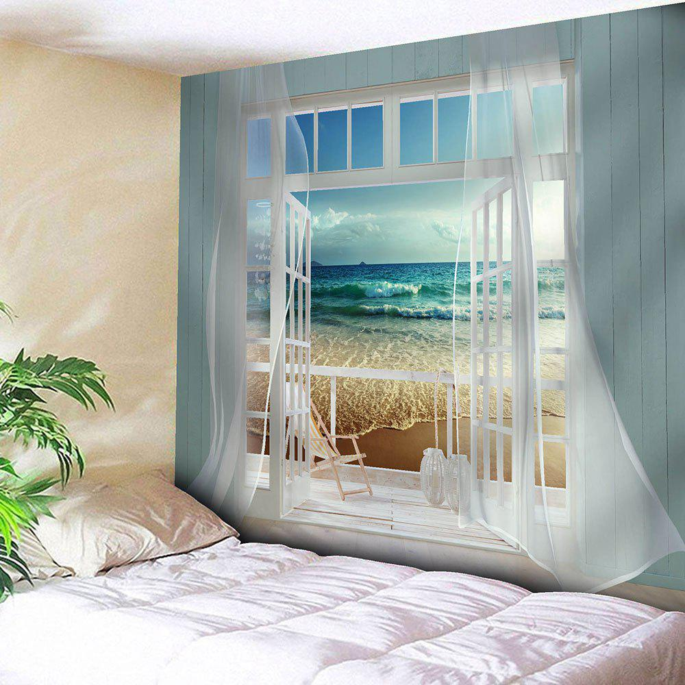 Wall Art Balcony Beach Waterproof Hanging TapestryHOME<br><br>Size: W79 INCH * L71 INCH; Color: BLUE; Style: Natural; Theme: Landscape; Material: Velvet; Feature: Removable,Waterproof; Shape/Pattern: Print; Weight: 0.3800kg; Package Contents: 1 x Tapestry;
