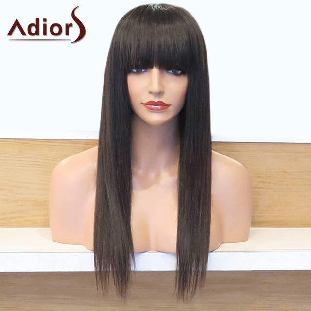 Adiors Neat Bang Long Straight Synthetic WigHAIR<br><br>Color: NATURAL BLACK; Type: Full Wigs; Cap Construction: Capless; Style: Straight; Material: Synthetic Hair; Bang Type: Full; Length: Long; Length Size(CM): 65; Weight: 0.1980kg; Package Contents: 1 x Wig;