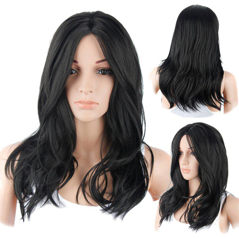 Long Middle Part Layered Natural Straight Synthetic WigHAIR<br><br>Color: BLACK; Type: Full Wigs; Cap Construction: Capless; Style: Straight; Material: Synthetic Hair; Bang Type: Middle; Length: Long; Length Size(CM): 50; Weight: 0.2200kg; Package Contents: 1 x Wig;