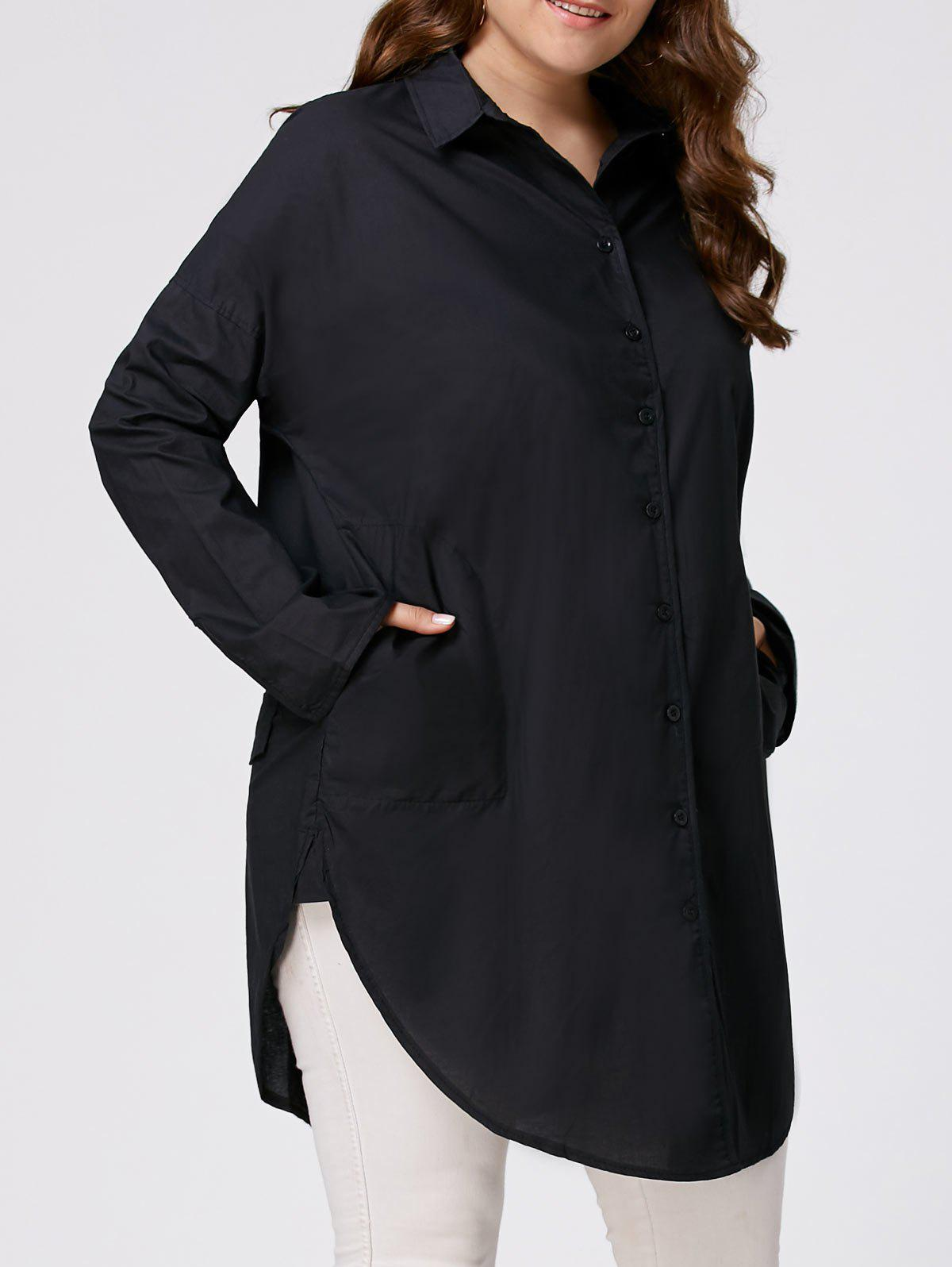 Plus Size Side Split Long Sleeve ShirtWOMEN<br><br>Size: 3XL; Color: BLACK; Material: Cotton Blends,Polyester; Shirt Length: Long; Sleeve Length: Full; Collar: Shirt Collar; Style: Fashion; Season: Fall,Spring; Embellishment: Button; Pattern Type: Solid; Weight: 0.2800kg; Package Contents: 1 x Shirt;