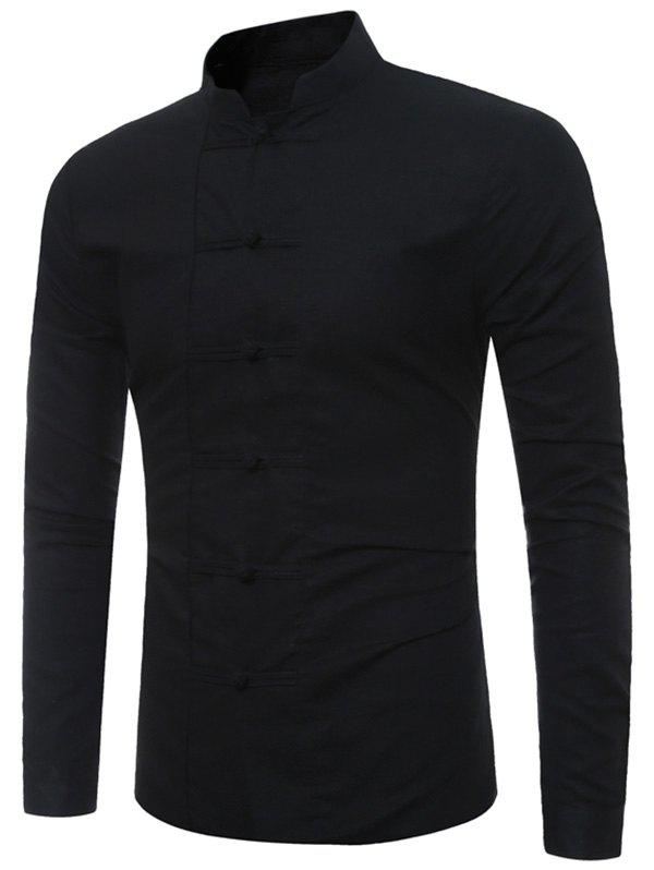 Mandarin Collar Frog Button ShirtMEN<br><br>Size: 4XL; Color: BLACK; Shirts Type: Casual Shirts; Material: Cotton,Linen; Sleeve Length: Full; Collar: Mandarin Collar; Pattern Type: Solid; Weight: 0.2900kg; Package Contents: 1 x Shirt;