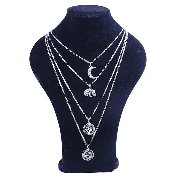 Gypsy Alloy Layered Elephant Moon NecklaceJEWELRY<br><br>Color: SILVER; Item Type: Pendant Necklace; Gender: For Women; Necklace Type: Link Chain; Style: Trendy; Shape/Pattern: Moon; Length: 40CM; Weight: 0.0500kg; Package Contents: 1 x Necklace;