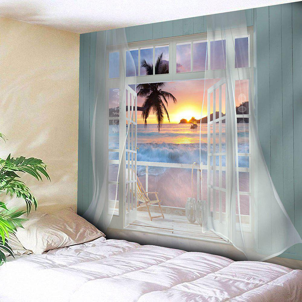 Balcony Sunset Beach Waterproof Hanging TapestryHOME<br><br>Size: W79 INCH * L71 INCH; Color: BLUE; Style: Natural; Theme: Landscape; Material: Velvet; Feature: Removable,Waterproof; Shape/Pattern: Print; Weight: 0.3800kg; Package Contents: 1 x Tapestry;