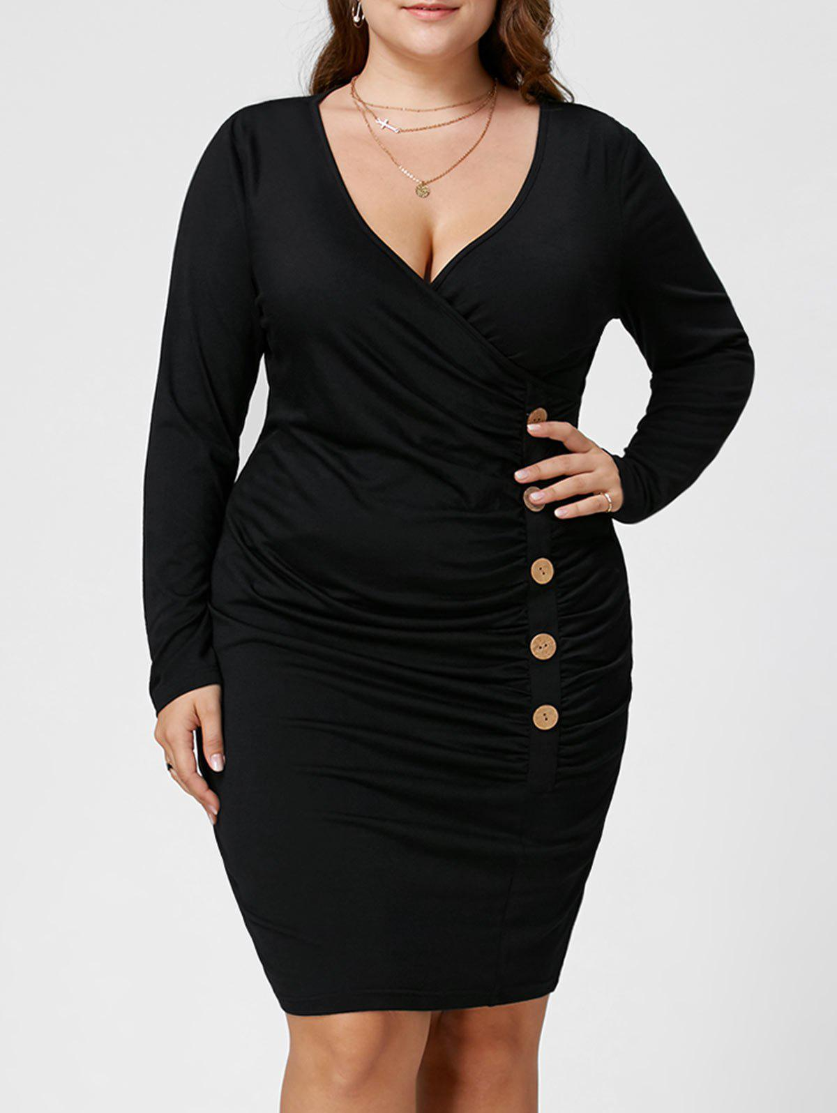 Plus Size Button Detail Ruched Tight DressWOMEN<br><br>Size: 5XL; Color: BLACK; Style: Brief; Material: Polyester,Spandex; Silhouette: Sheath; Dresses Length: Knee-Length; Neckline: V-Neck; Sleeve Length: Long Sleeves; Embellishment: Button; Pattern Type: Solid Color; With Belt: No; Season: Fall,Spring,Summer; Weight: 0.3700kg; Package Contents: 1 x Dress;