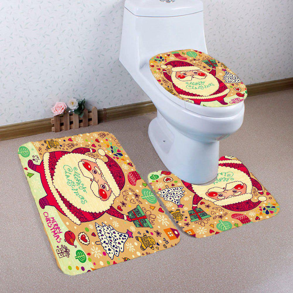 Sale Nonslip Cartoon Santa Claus Pattern 3Pcs Bathroom Rugs Set