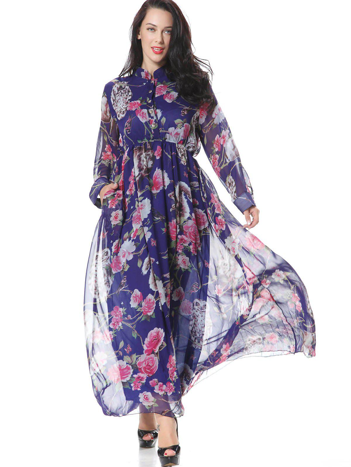 Hot Floral Half Buttoned Long Sleeve Maxi Dress