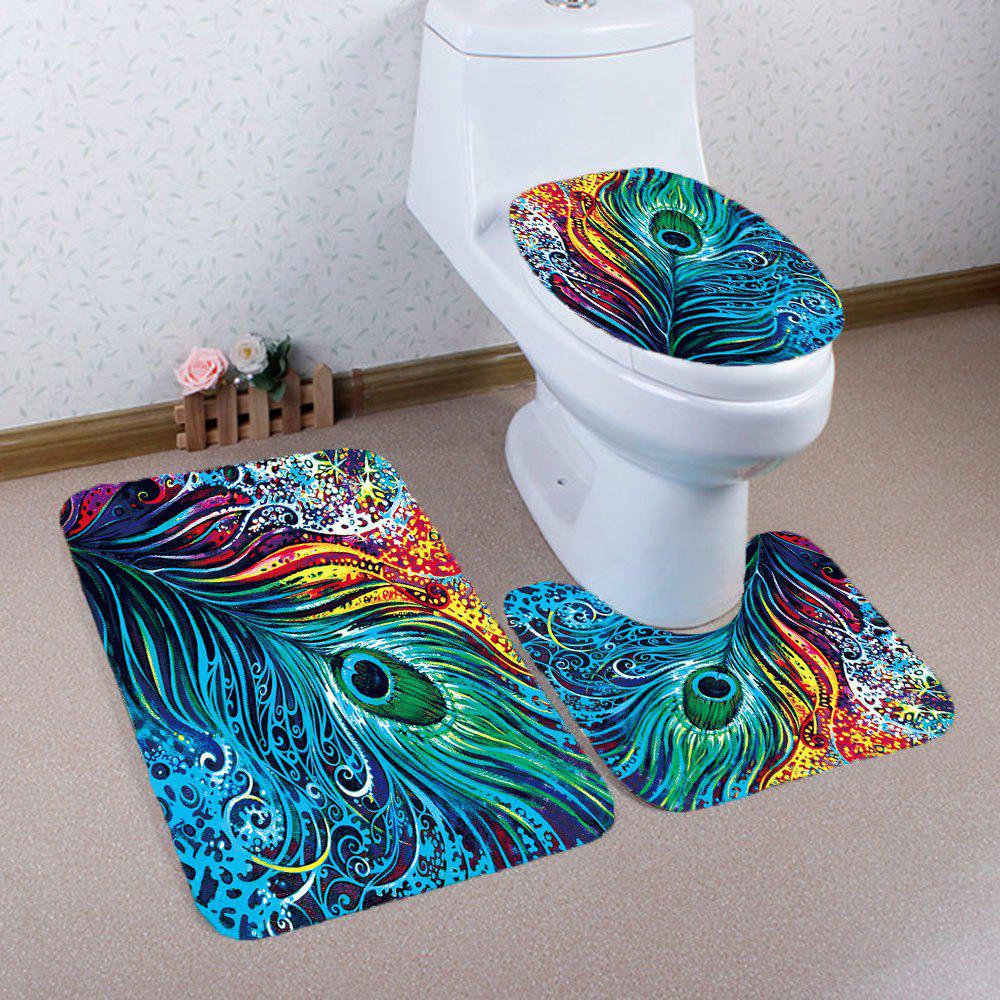 Nonslip Peacock Feathers Printed 3Pcs Bathroom Rugs SetHOME<br><br>Color: COLORFUL; Products Type: Bath Mats; Materials: Coral FLeece; Pattern: Feather; Style: Trendy; Size: Pedestal Rug: 40*40CM, Lid Toilet Cover: 40*45CM, Bath Mat: 40*60CM; Package Contents: 1 x Pedestal Rug 1 x Lid Toilet Cover 1 x Bath Mat;
