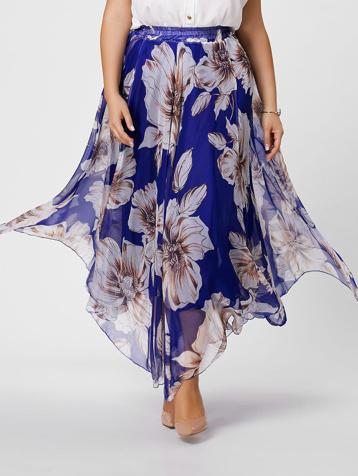 Elastic Waist Plus Size Floral Maxi SkirtWOMEN<br><br>Size: 3XL; Color: BLUE; Material: Polyester; Length: Floor-Length; Silhouette: A-Line; Pattern Type: Floral; Season: Spring,Summer; Weight: 0.3500kg; Package Contents: 1 x Skirt;