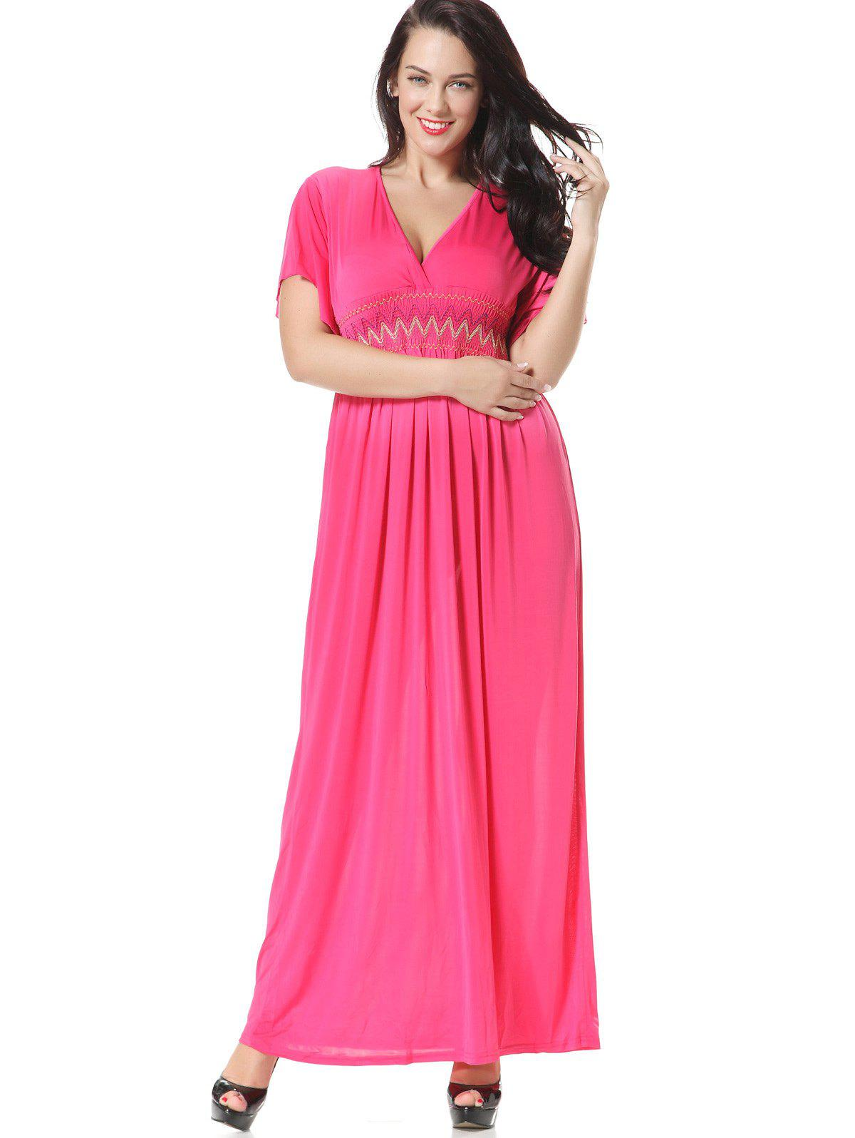 Best Embroidered Smocked Panel Maxi Dress