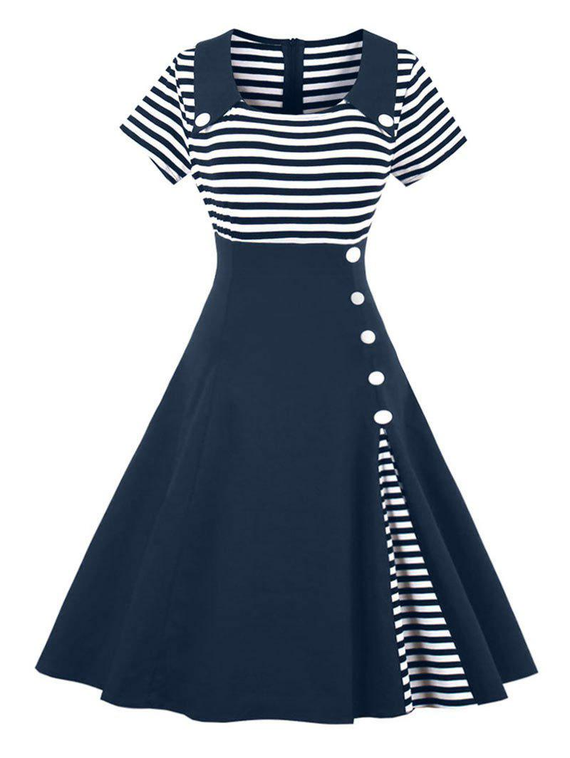 Outfit Vintage Buttoned Stripe Pin Up Dress