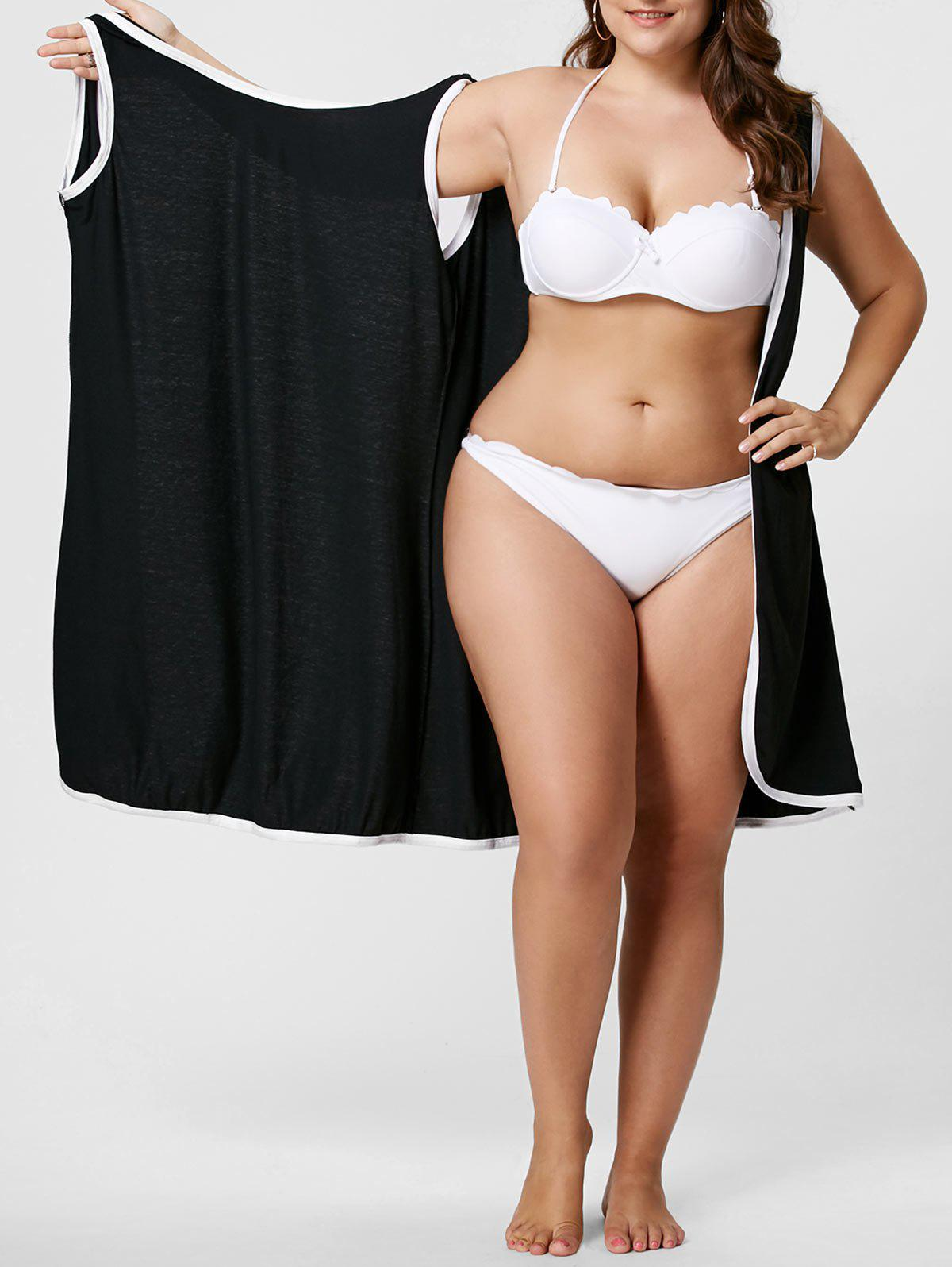 Knee Length Plus Size Beach Wrap Cover Up DressWOMEN<br><br>Size: 5XL; Color: BLACK; Gender: For Women; Swimwear Type: Cover-Up; Material: Polyester; Pattern Type: Solid; Waist: Natural; Weight: 0.4500kg; Package Contents: 1 x Cover Up;