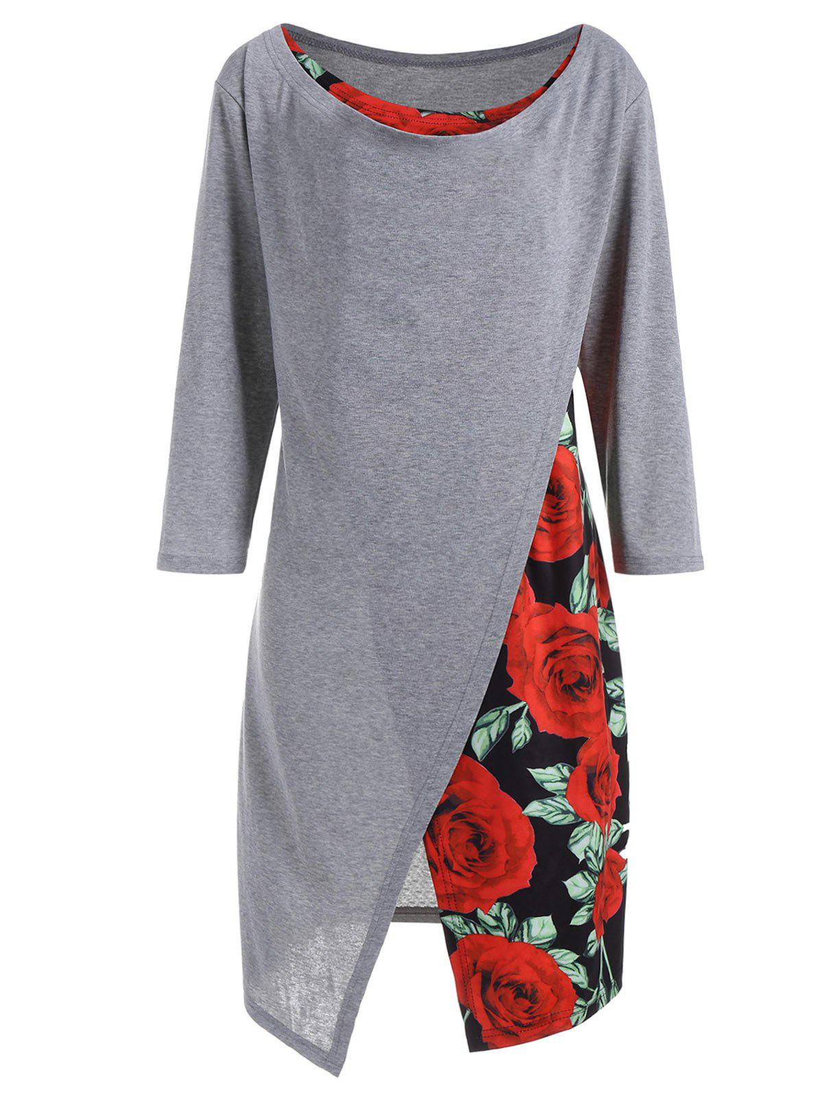 Unique Plus Size Rose Print Overlap Asymmetrical Top