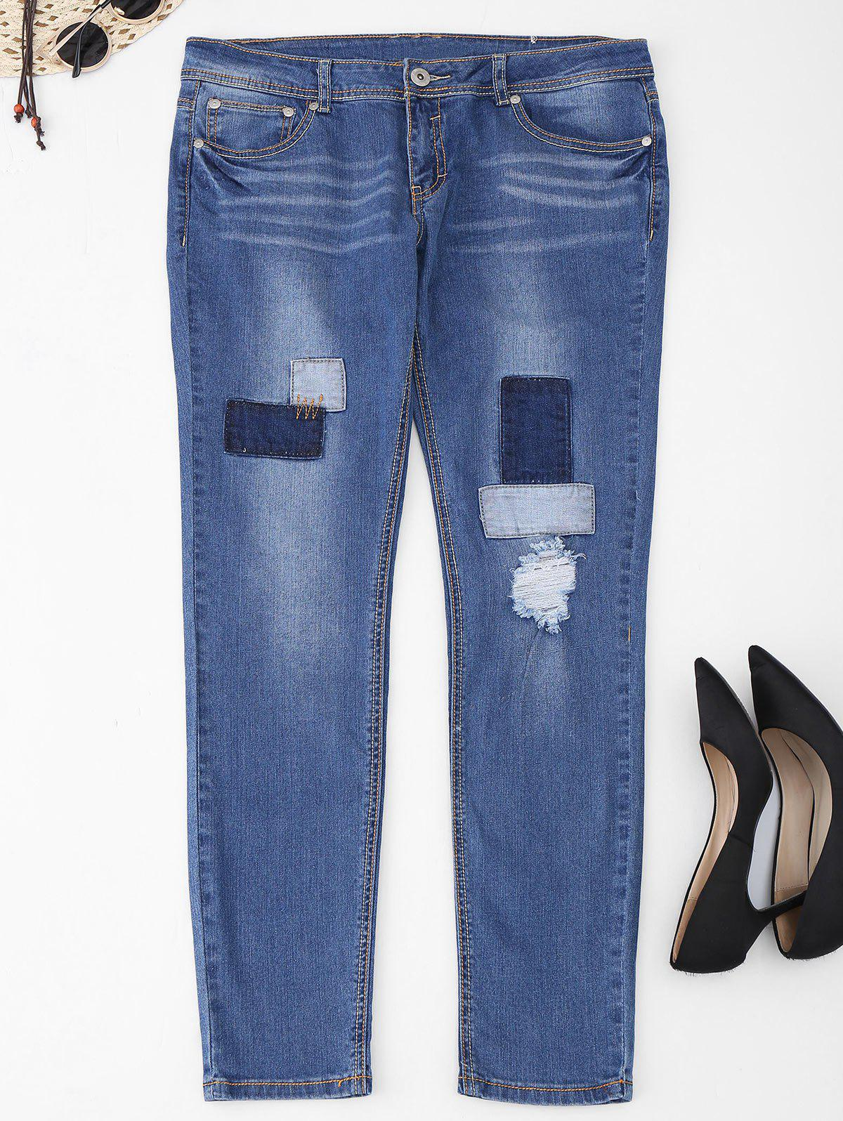 Online Plus Size Patch Frayed Jeans