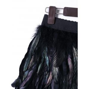 Halloween Elastic Waist Feather Decorated Skirt -