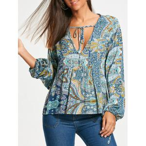 Low Cut Paisley Long Sleeve Smock Blouse - Colormix - Xl
