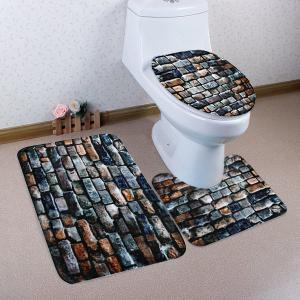 Brick Wall Pattern 3 Pcs Bath Mat Toilet Mat