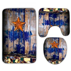 3Pcs/Set Starfish Wood Plank Printed Bath Toilet Mat -