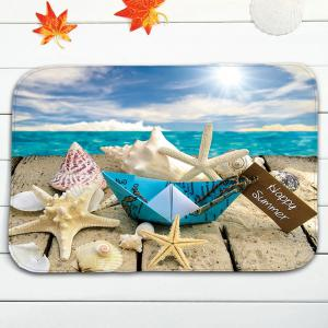 3Pcs / Set Starfish Wood Plank Print Bath Tapis de toilette - Multicolore