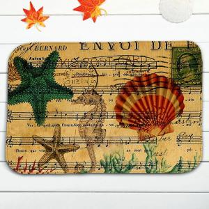3Pcs / Set Starfish Musical Notation Bath Toilet Mat - Jaune