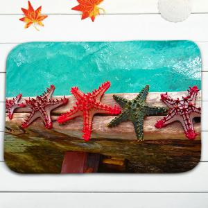 Wood and Starfish Print 3Pcs Ensemble de tapis de toilette - Multicolore