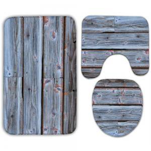 Wood Grain Print 3Pcs Toilet Bath Rug Set -