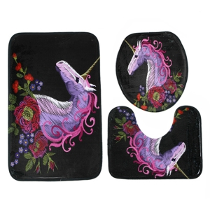 3Pcs Soft Absorbent Floral Unicorn Bath Mats Set - BLACK