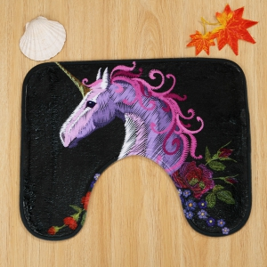 3Pcs Soft Absorbent Floral Unicorn Bath Mats Set - Noir